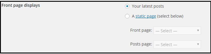 Front Page Display WordPress Settings