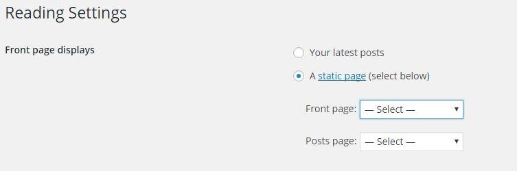 WordPress Static Page Setting