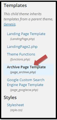 Genesis Theme Archive page Template in Editor