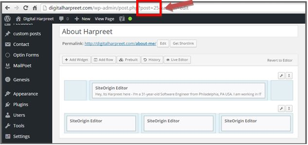 Wordpress Page ID Address Bar
