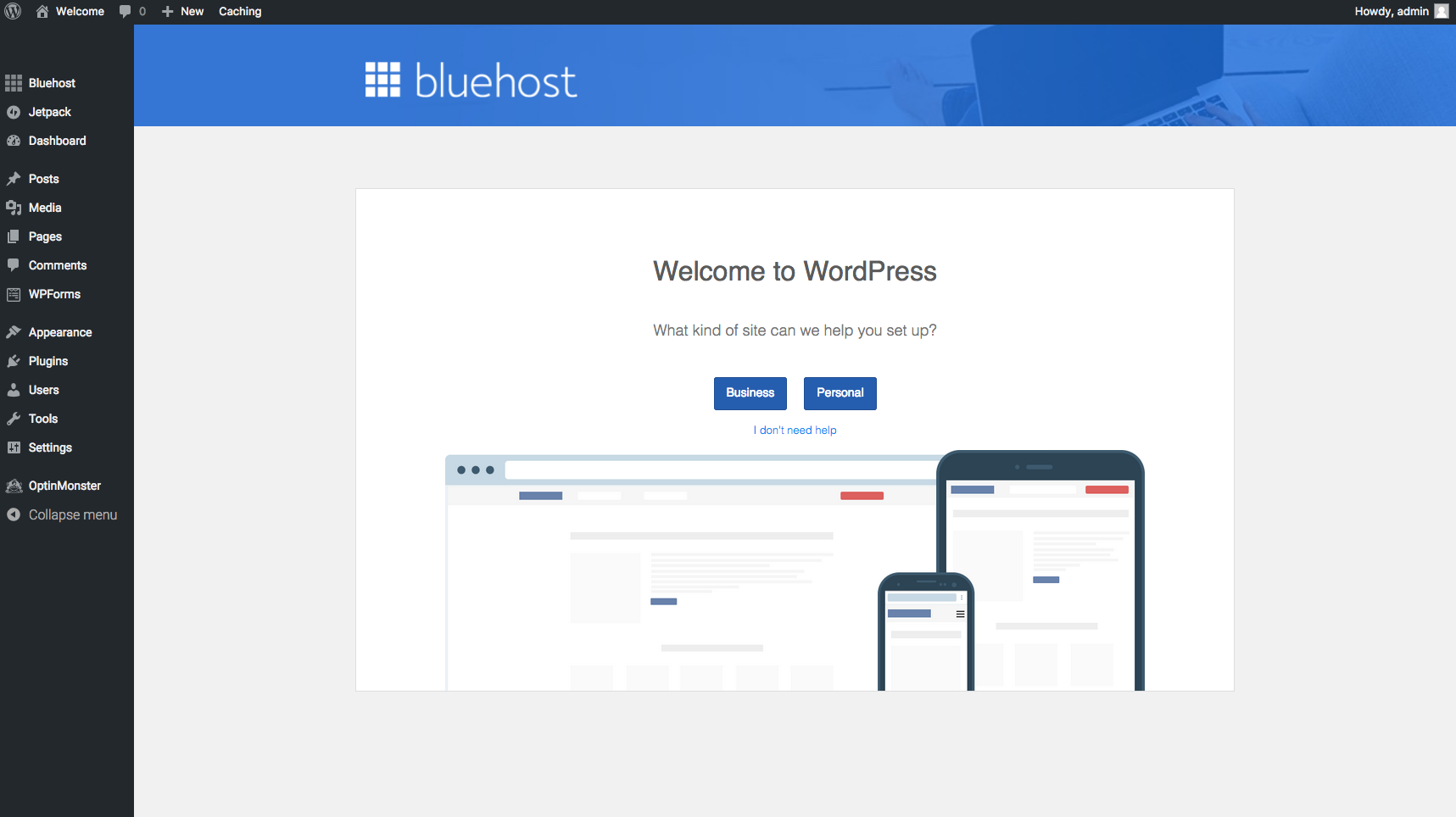 Start A Blog Bluehost WP Dashboard