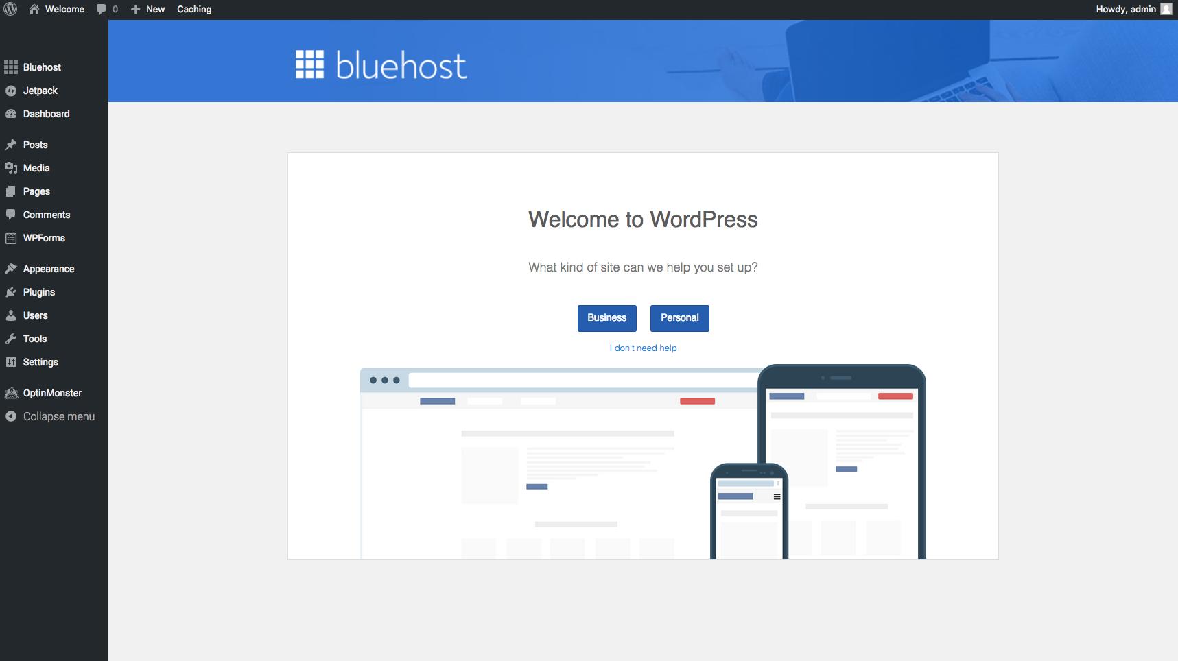 Start A Blog Bluehost WP Dashboard