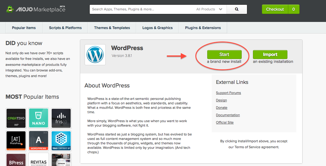 Start a blog WordPress
