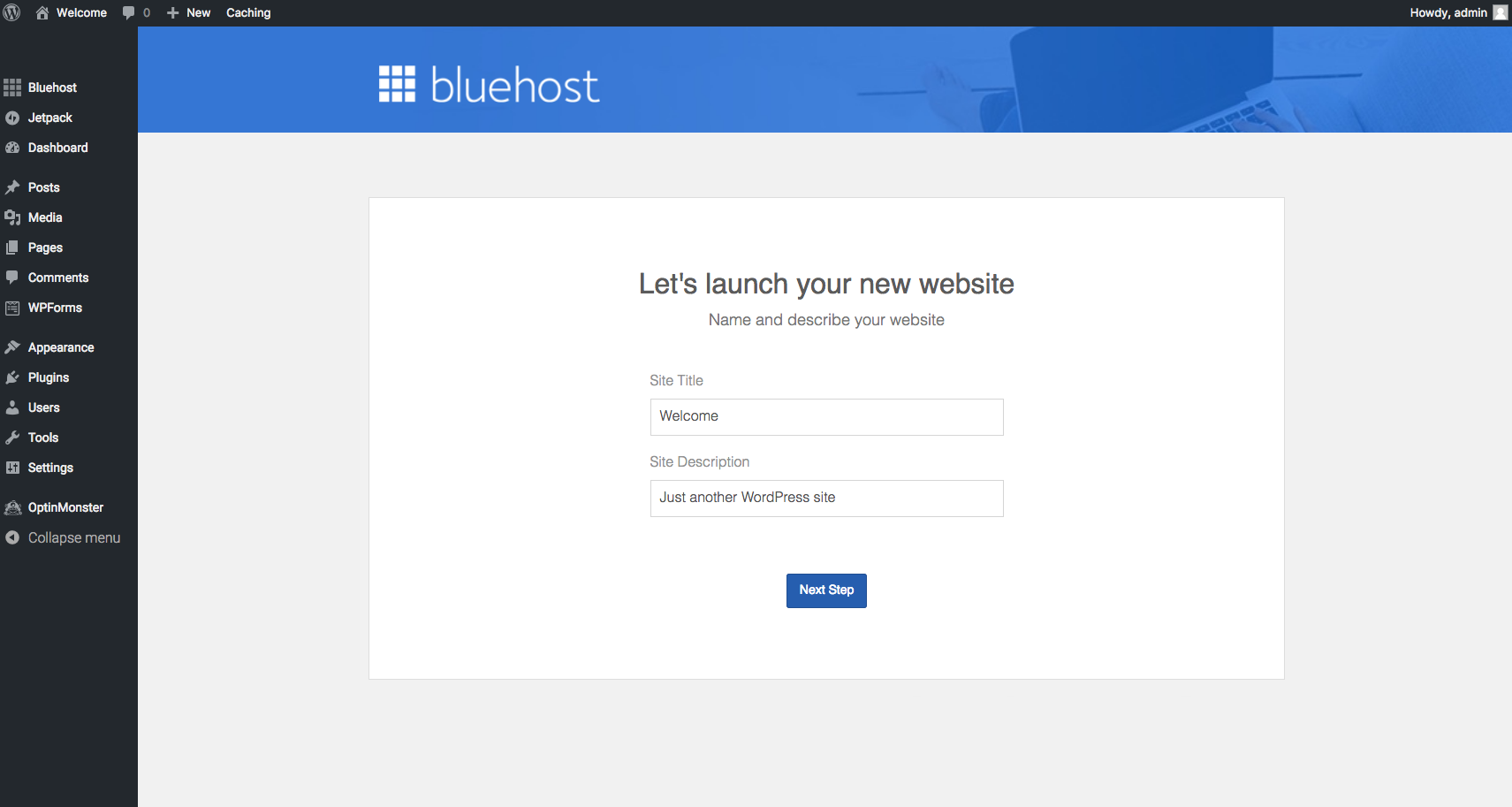 Start A Blog Bluehost Launch Site