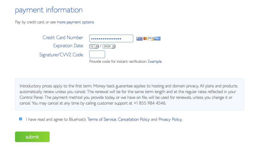 Start A Blog Bluehost Web Hosting - 5 Payment Info