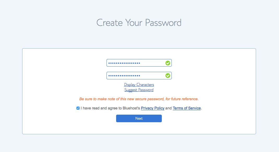 Start A Blog BLueHost Password Step 2
