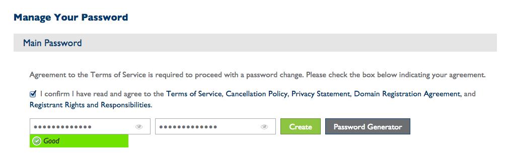 Start a blog set password