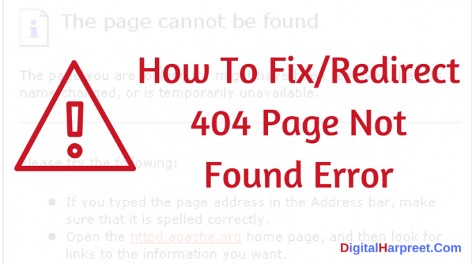 How To Fix/Redirect 404 Page Not Found Error