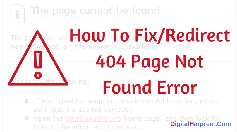 How To Fix Redirect 404 Page Not Found Error