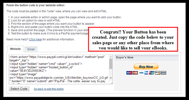 how-to-sell-ebook-on-paypal-congrats-button-created