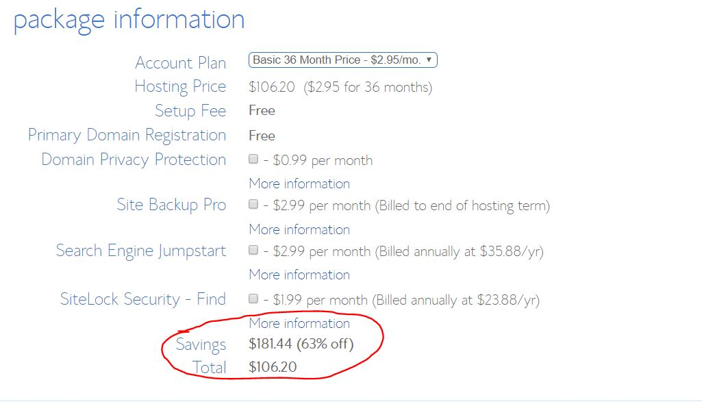 start a blog at bluehost in 2.95 per month