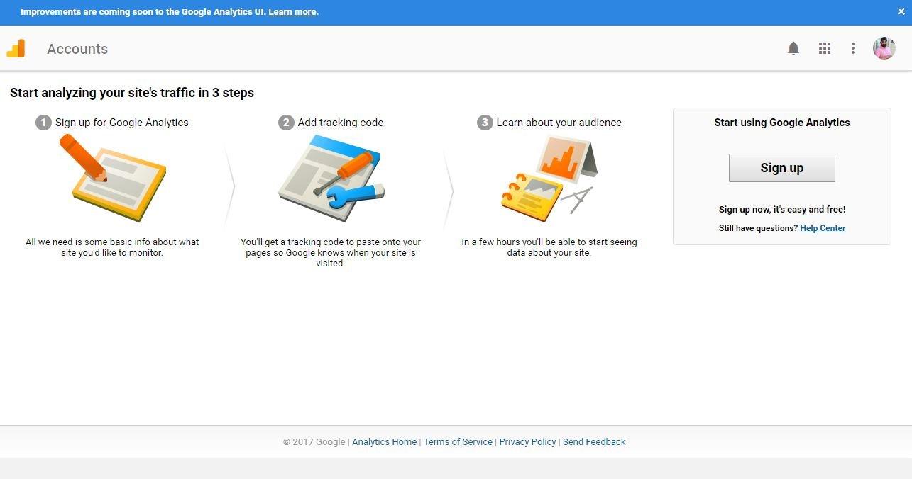 Google Analytics Sing Up Page