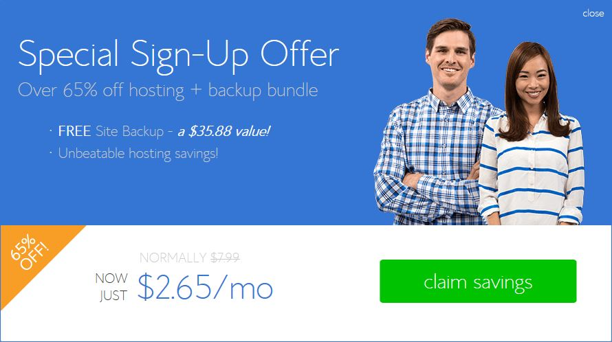 Step 4 Bluehost web hosting special Offer