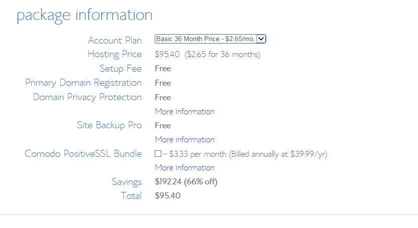 Step 5 Bluehost Web Hosting Price after discount