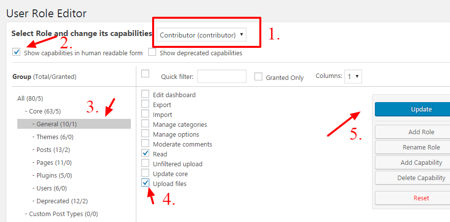 User-Role-Editor-settings-screenshot-activate media button