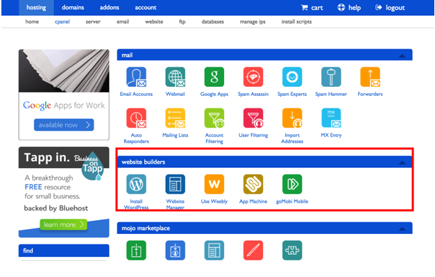 Start a Blog Checklist -Install WordPress Bluehost