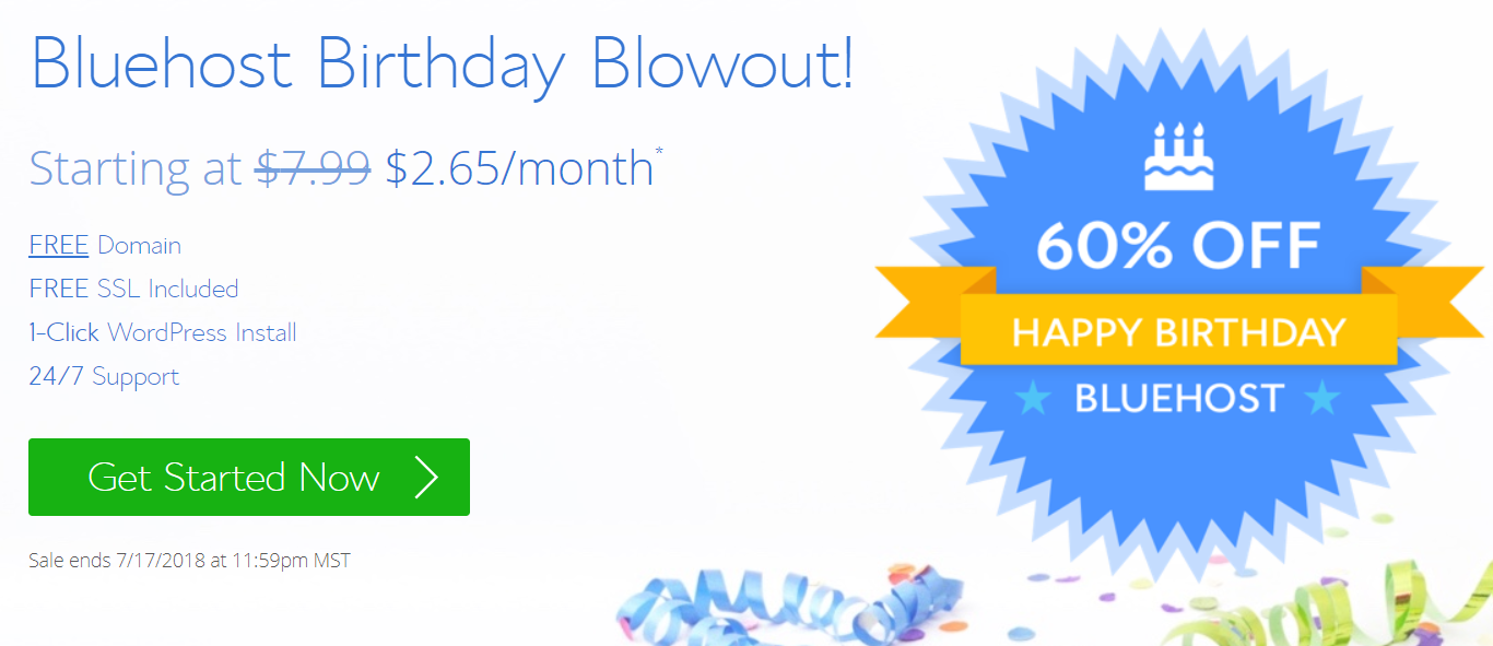 Bluehost Birthday Sale – Web Hosting in $2.65 Per Month